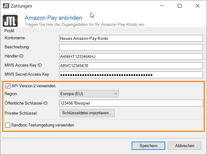 Dialogfenster Amazon Pay-Version 2 einrichten