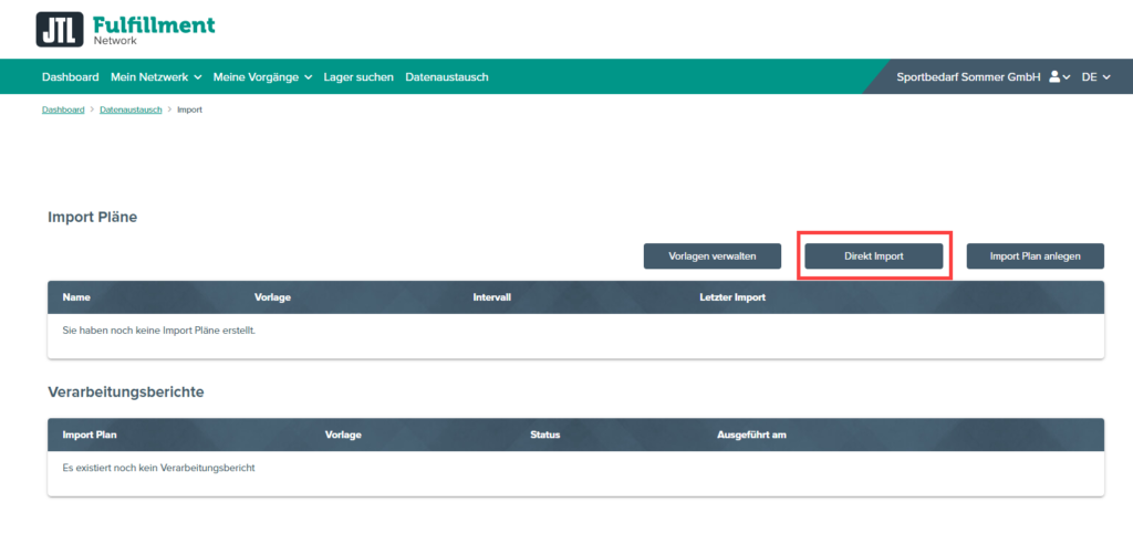 Direktimport in das JTL-Fulfillment Network Portal