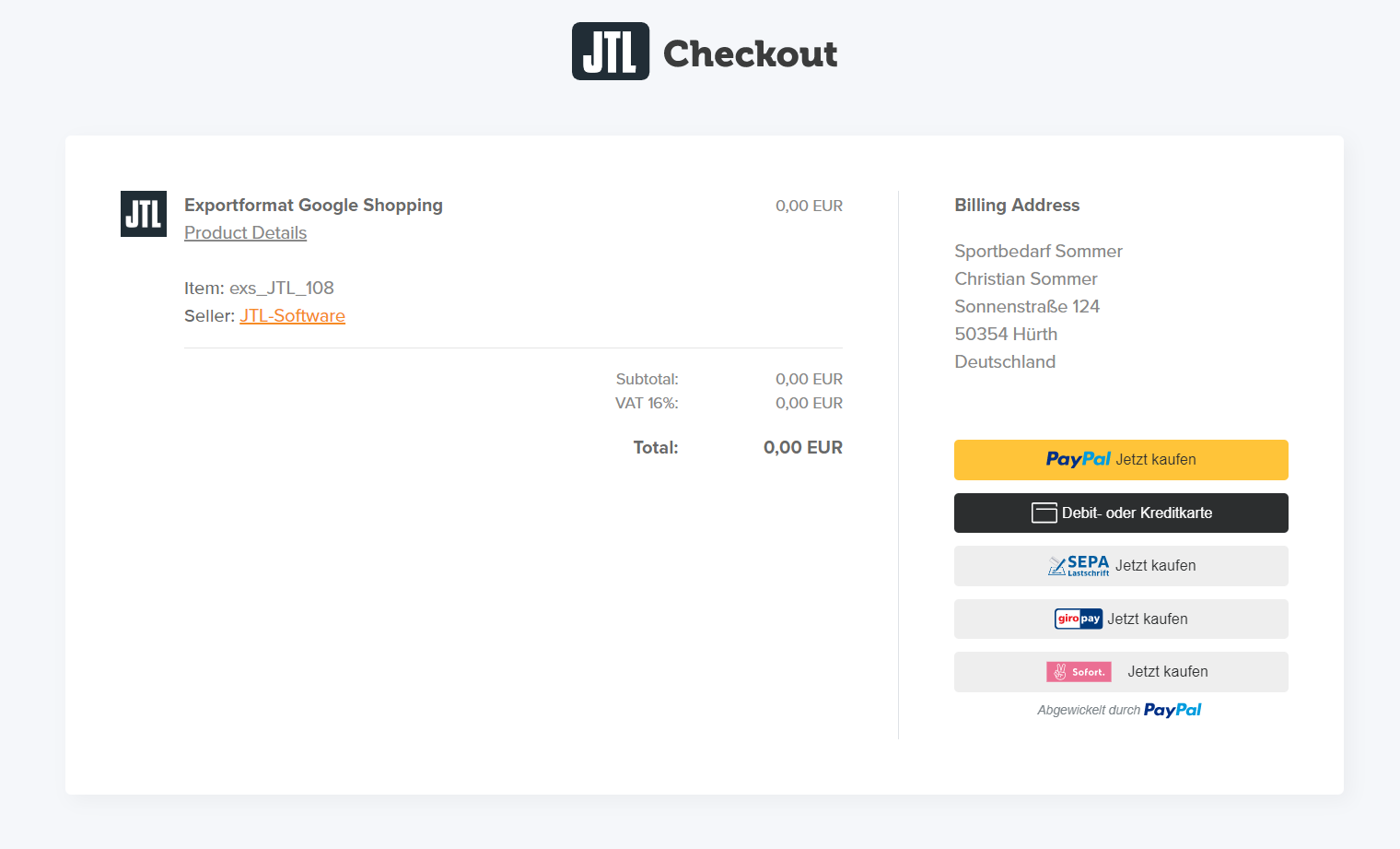 Checkout-Prozess Extension Store Google Shopping